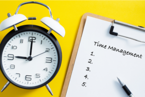 Clock and Time Management checklist on a yellow background