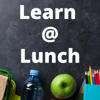 Chalkboard reading Learn @ Lunch with lunchbox